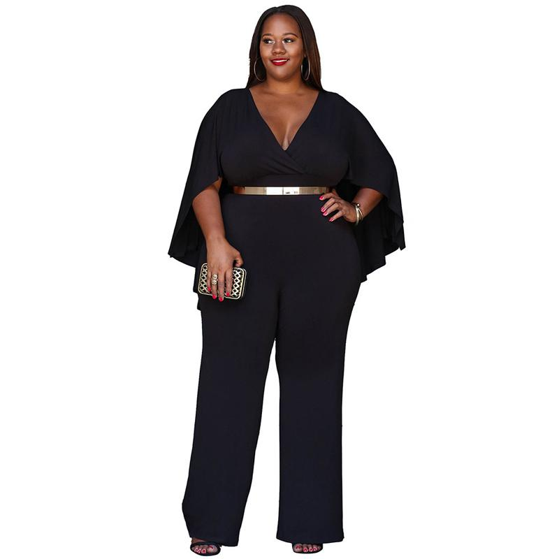5a436f7c6a98 2019 Plus Size Sexy V Neck Cloak Jumpsuit Women 2018 Summer Fashion Long  Wide Leg Romper Big Size Black Tunic Party Clubwear Overalls From Yabsera