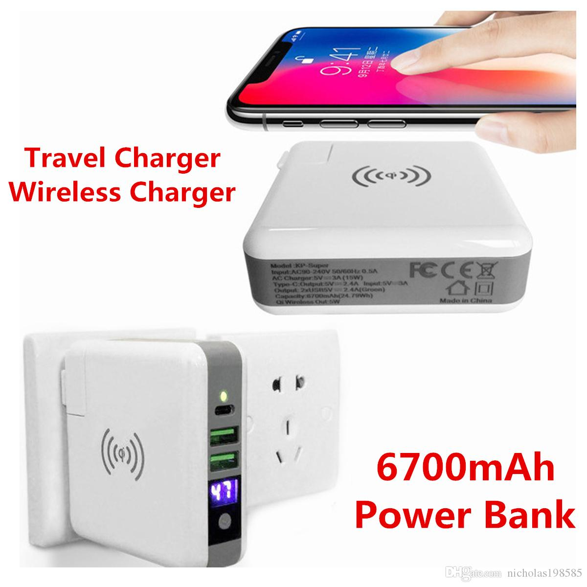 Super Charger3 In 1 Travel Charger Wireless 6700mah Power Mobile Phone Circuit Diagram Bank For Smart Phones Universal Qi Samsung Iphone X