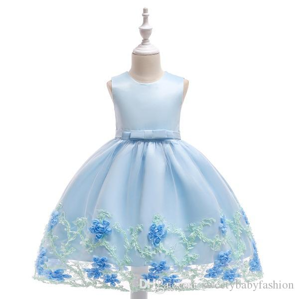 Pastoral Style Formal Tulle Kids Girls Sleeveless Lace Flower Evening Gown Party Wedding Princess Dresses KA840