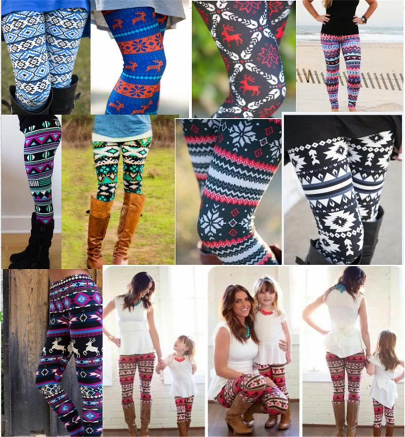 3e4f7780b76e2a 2019 3D Christmas Leggings Women Girls Snowflake Elk Deer Printed Skinny  Stretchy Pants Bodycon Trousers Legins Tights Mother And Daughter Pants  From ...
