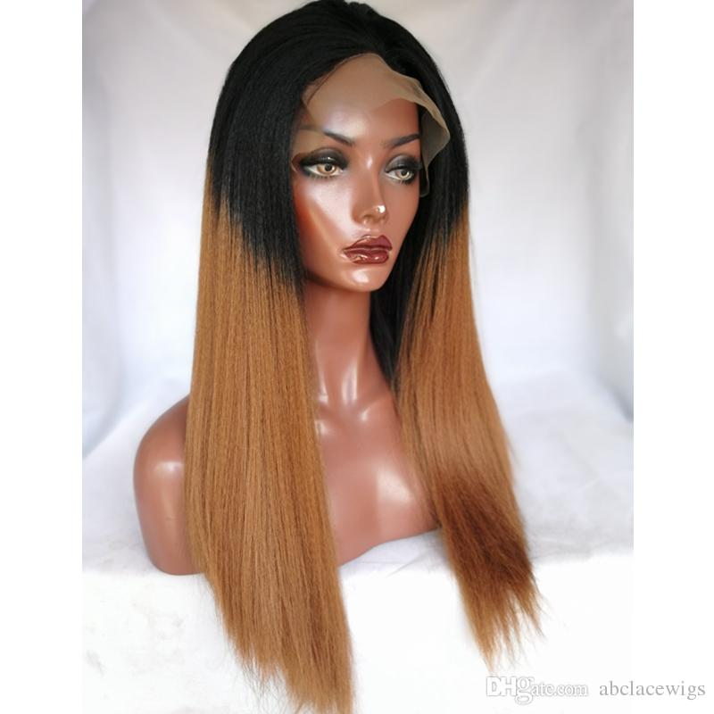 High Quality 1b/30# Ombre Brown Kinky Straight Wigs Synthetic Lace Front Wigs Heat Resistant Fiber Wigs For Black Women 180% Density