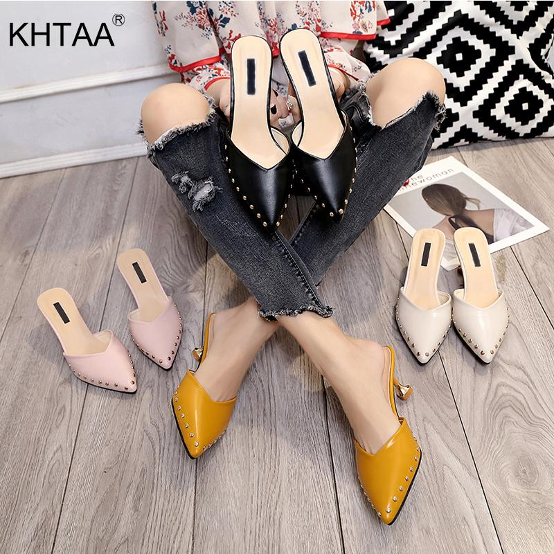 3010963bf92 KHTAA Summer Women Mules Slippers Rivet Solid Pointed Toe Sandals Slides  Casual Leather Thin High Heels Shoes Ladies Footwear Womens Trainers Kids  Boots ...