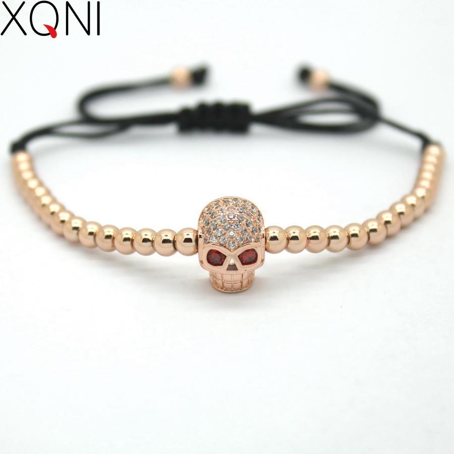 72d5448784df XQNI Brand Link Rose Gold Color Strand Charm Bracelets Jewelry Trendy Mini  Skull CZ Braiding Macrame Beads Women Bracelets Womens Charm Bracelets Mens  ...