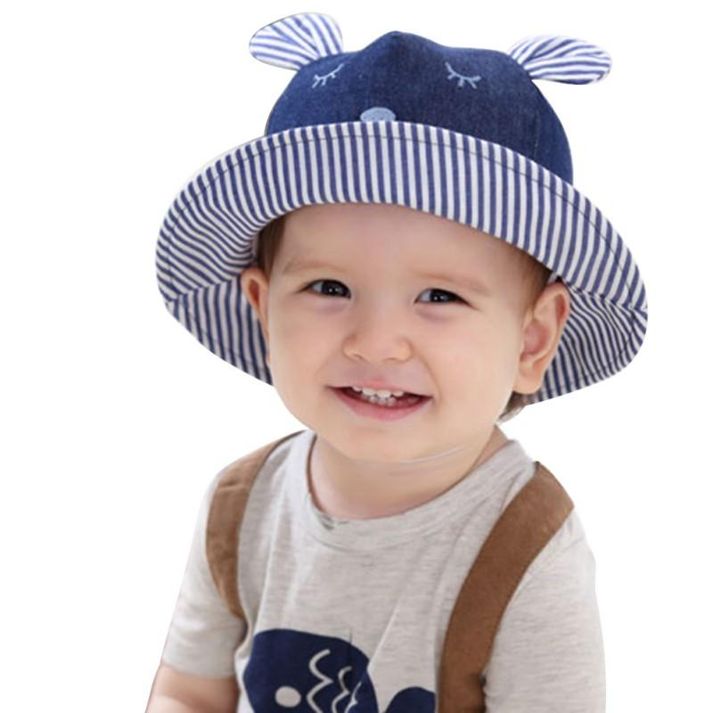 2019 Toddler Bear Cowboy Infant Hats Summer Sun Cap Polka Striped Summer  Outdoor Baby Girl Hats Beach Bucket Sun Hat From Entent 5fd664f36a1b