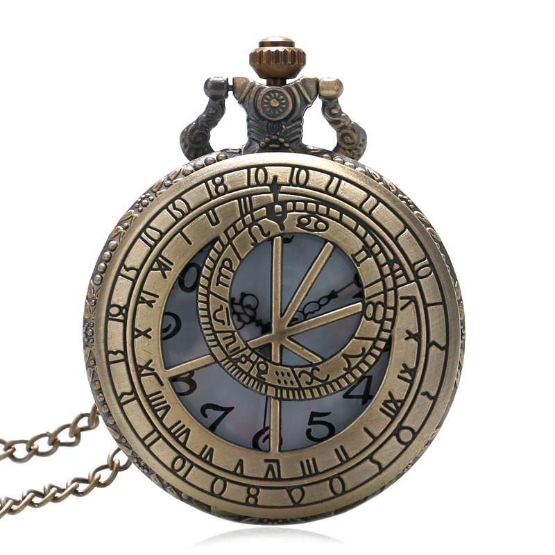 Doctoer Who Theme Hollow Bronze Quartz Pendant Fob Pocket Watch With Necklace Chain Gift For Men Women