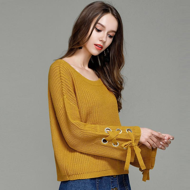 New Winter Women Pullover Sweaters Lace Up Long Sleeve Sexy Ladies ... bc6941911