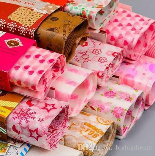 25*21.8CM Candy Wrapping Paper Wax Paper For Candy Nougat Food Packaging Multi Color Cartoon Floral Wrapper