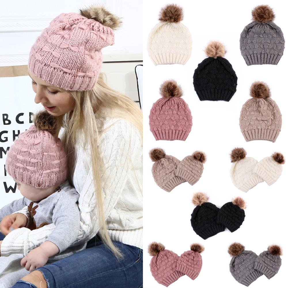 d2401e7c65637a 2019 Puseky Knit Fur Pom Hat Winter Warm Ski Snow Earflaps Cap Ladies Crochet  Beanie Hats Or Mother Kids Family Matching Set Optional From Paradise02, ...