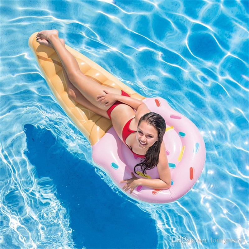 Gigantic Ice Cream Shaped Inflatable Floating Row Summer Outdoor Beach Swim Ring Pool Swimming Floats Boat Water Toy 26df Y