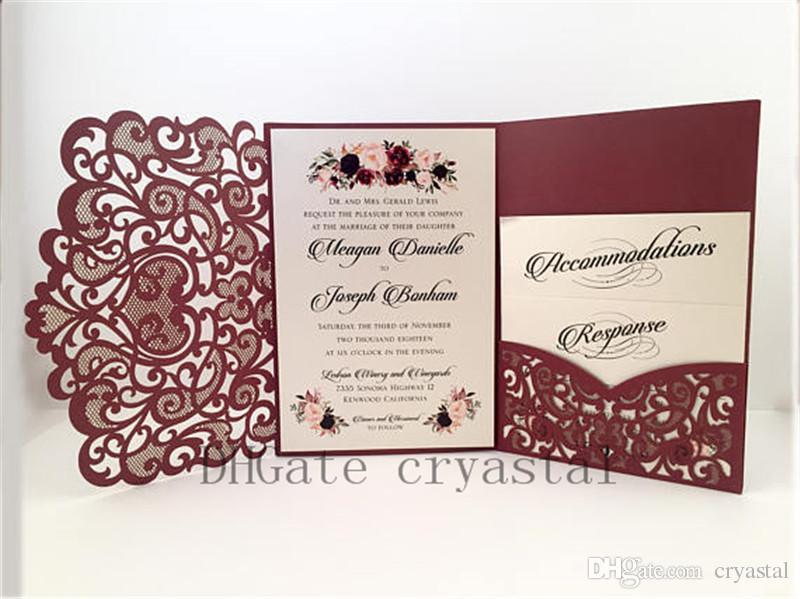 Invitations de mariage élégantes de mariage de poche de Bourgogne de Bourgogne