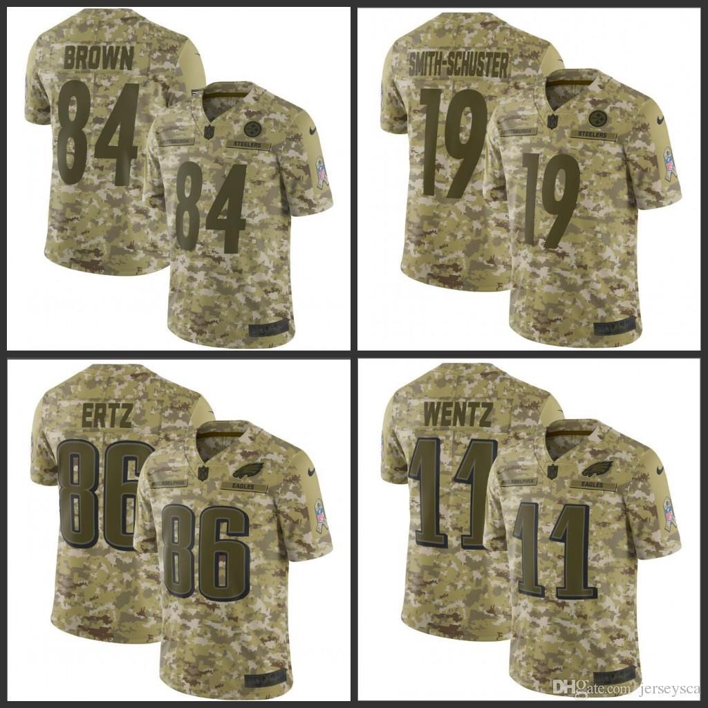 watch 1f36d b3697 Pittsburgh Mens Steelers # 19 Smith-Schuster 84 Antonio Brown Eagles 11  Wentz 86 Zach Ertz Camo Salute to Service Retired Player Jerseys