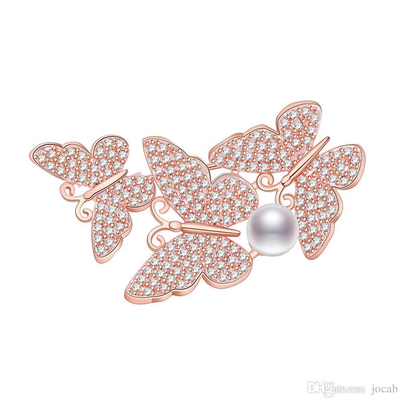 Wholesale DIY Vintage Butterfly Brooch Women Party Gifts Zirconia Rhinestone Brooches Bouquet insect Hair Accessories Clothes Scarf Pins