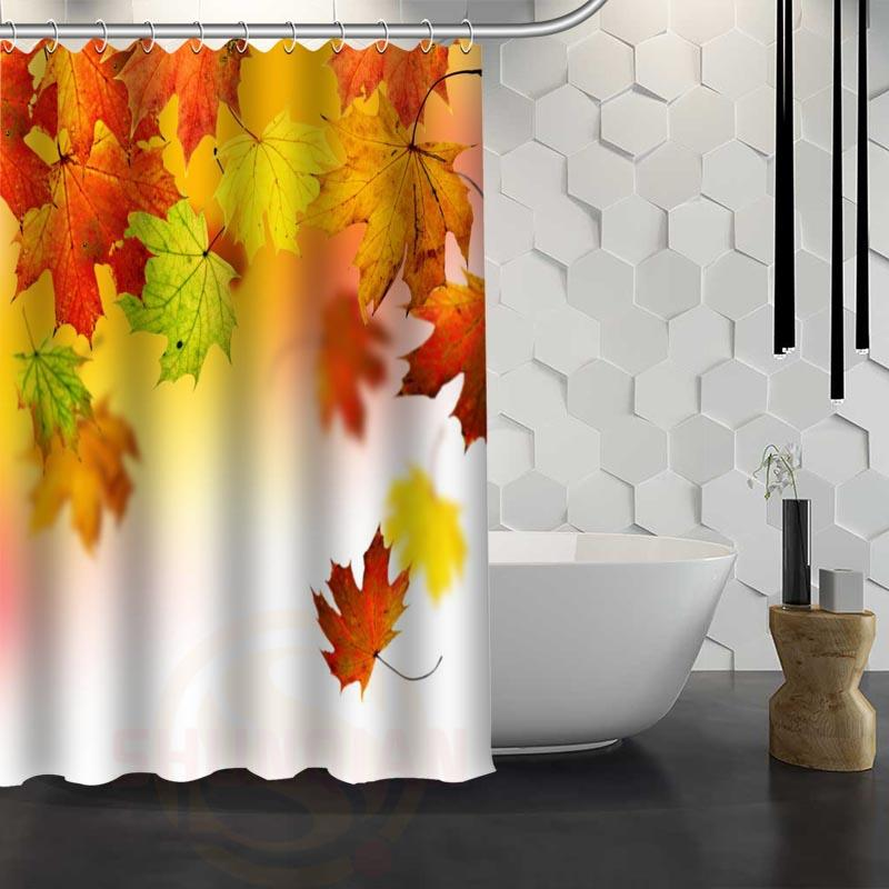 2018 Hot Sale Custom Maple Leaves Autumn Leaves Shower Curtain ...