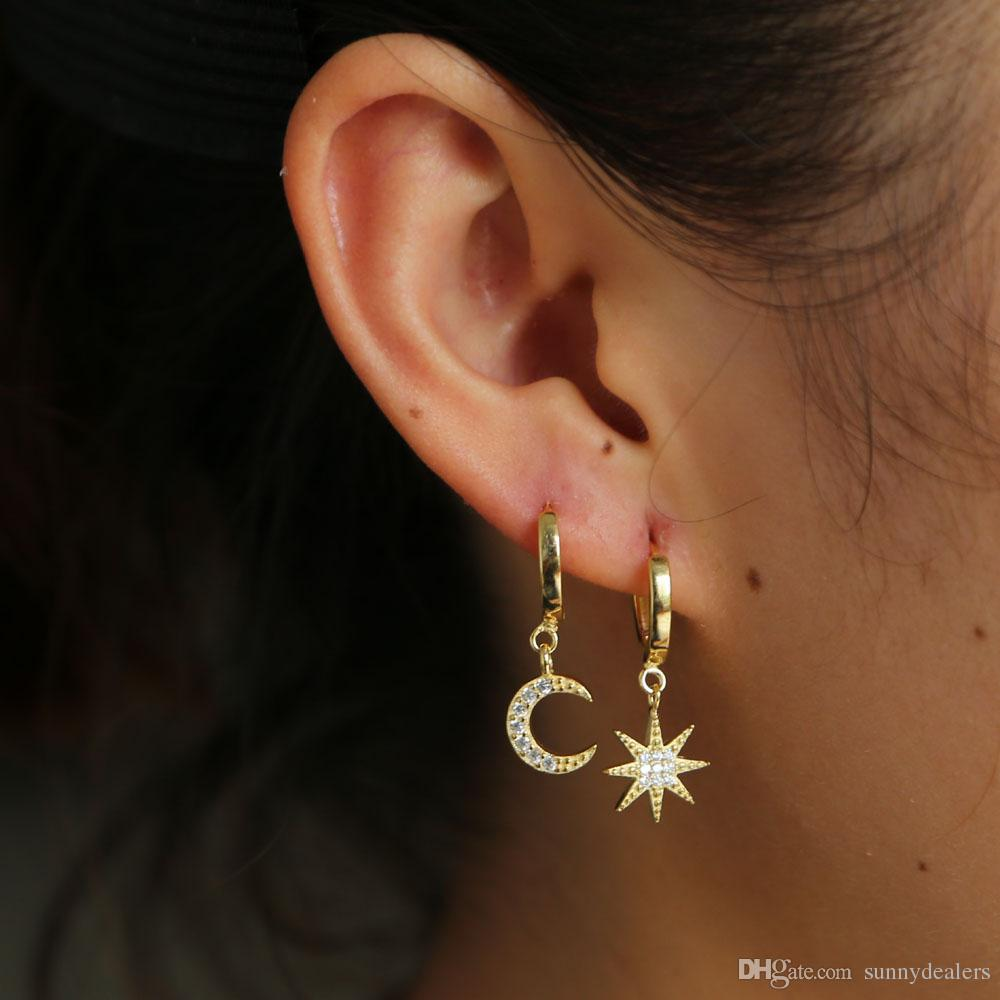 d49758819 Christmas Gift Cz Moon Star Charm Dangle Earring 925 Sterling Silver  Dazzling Starburst Charm Chic Gorgeous Women Ladies Earring Online with  $15.14/Piece on ...