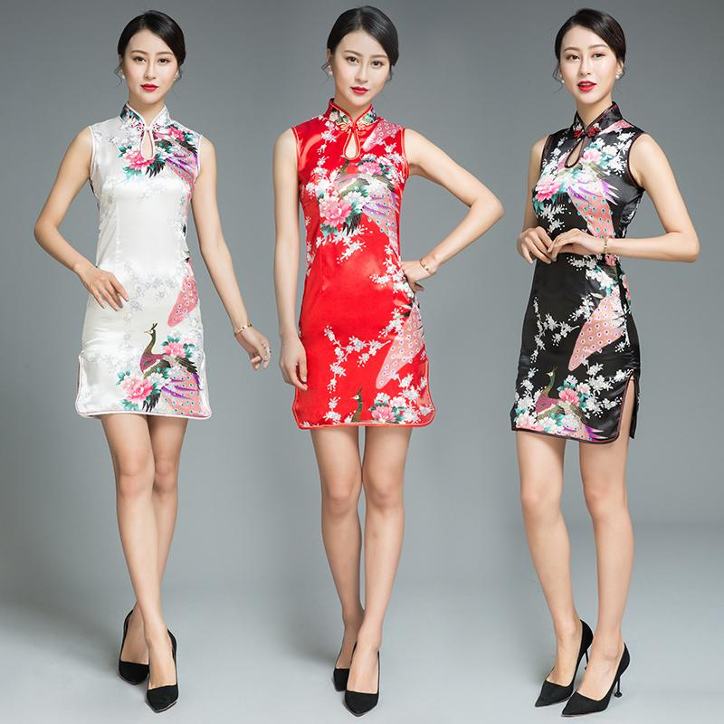 37ddb46df 2019 2018 Summer Sexy Sleeveless Women Cheongsam Chinese Style Mini Evening  Party Dress Elegant Floral&Peacock Qipao Oversize S 3XL From Peay, ...