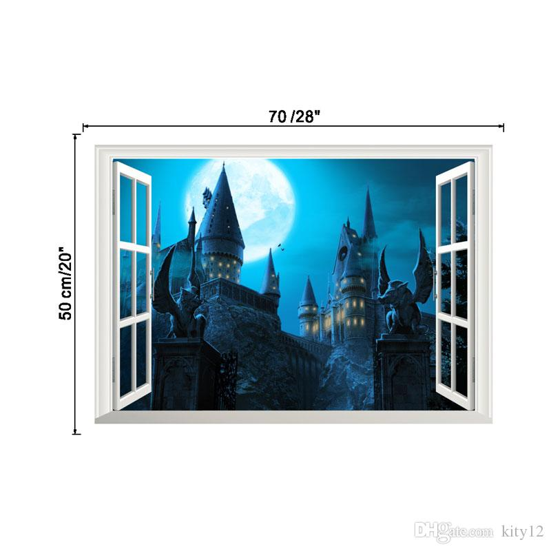 Hot New 3D Windows Castle Wall Sticker Festival Wall Decorative Mural Decal for Living Room Bedroom