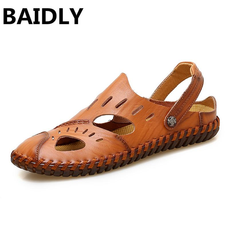 f501efceb BAIDLY Men Leather Sandals Fashion Genuine Leather Shoes Summer Casual Sandals  Black Beach Big Size 38 47 Sandals For Men Jelly Sandals From Annawawa