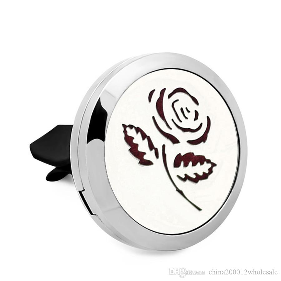 Rose Tree Essential Oil Car Diffuser Locket Vent Clip 316 L Stainless Steel Perfume locket Magnetic Randomly Oil Pads as mother Gift