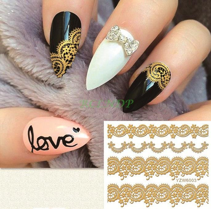 Gold Goldden Sticker For Nails Art All Decorations Sliders Lace