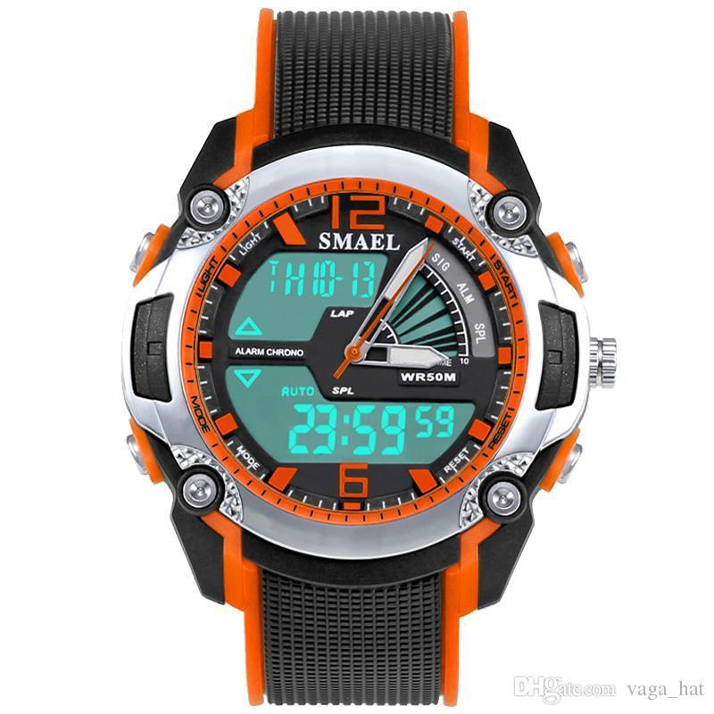 7352b358f92 Compre Smael Moda Crianças Esporte Relógios À Prova D  água Analógico Led Relógio  Digital Estudante Multifuncional Relógio De Pulso Relógio Para A Menina ...