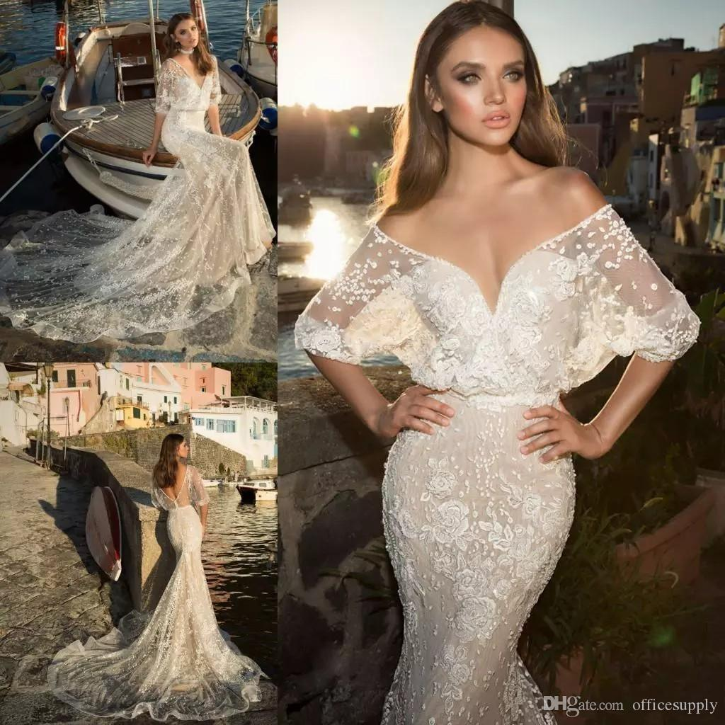 2019 Beach Mermaid Abiti da sposa Sexy Deep V Neck Mezze maniche Appliqued Lace Court Train Sheer Abito da sposa Abiti da sposa