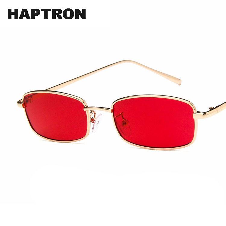 c8d4645e16 Compre Gafas De Sol Cuadradas Pequeñas Hombres De Las Mujeres Retro Gafas  De Sol Rojas Gafas De Lente Transparente Transparente Marco De Metal  Sombras Gafas ...