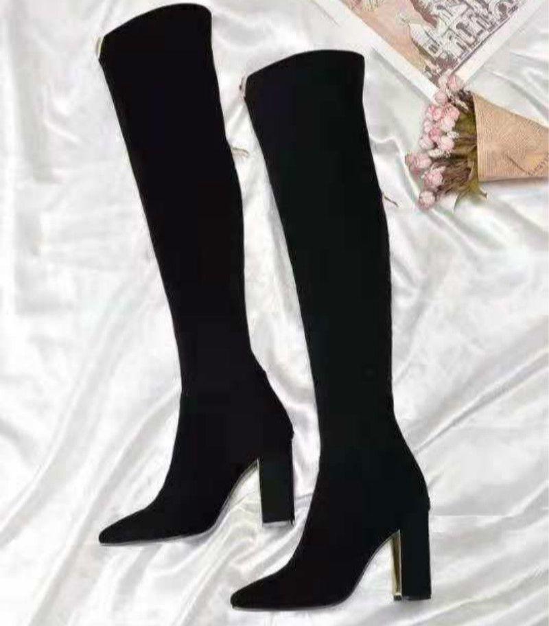 Botas personalizadas gruesas con botas elásticas Botas de tacón alto zapatos grandes zapatos de gamuza envío directo directo de fábrica