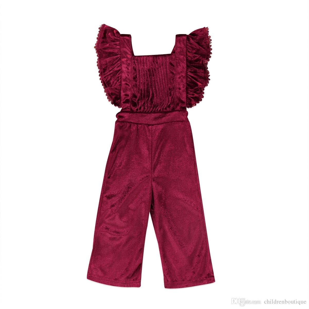 cb90b830ba6e 2019 Toddler Clothes Kids Girls Clothing Rompers Velvet Bib Short Sleeve  Backless Jumpsuit One Piece Outfits Baby Girl Clothes Children Clothing  From ...