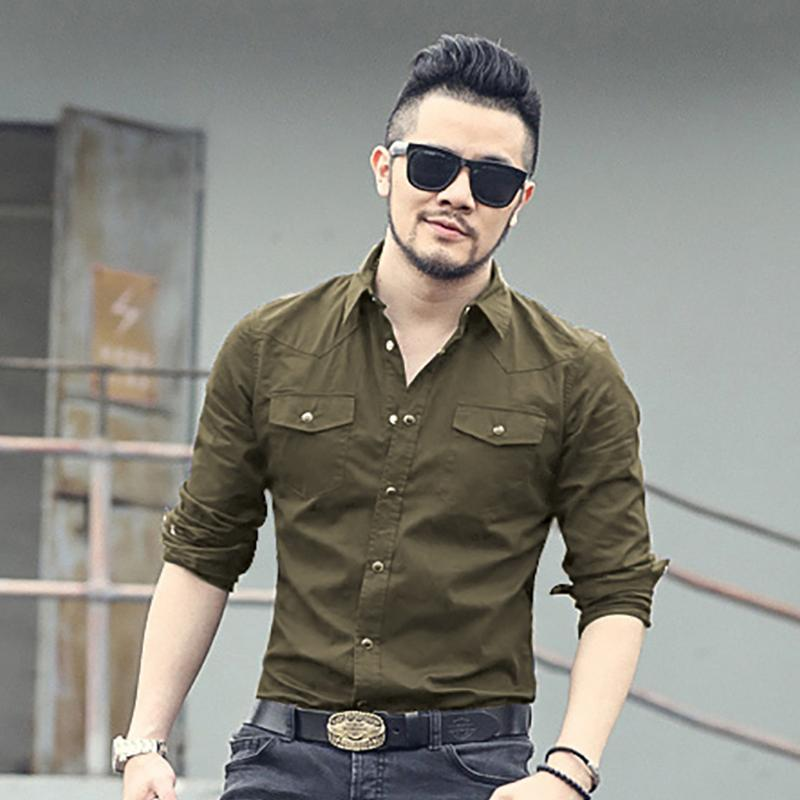 2017 New Spring Double Pocket Mens Fashion Shirt Brand Men Long Sleeved  Solid Shirts Slim Fit Casual Men Shirt Social S2151 UK 2019 From Seein d08d84bf0fc1