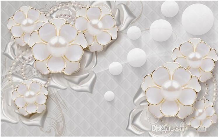 사용자 정의 사진 벽지 벽 스티커 큰 벽화 거룩한 흰색 럭셔리 보석 꽃 거실 TV papel 드 parede