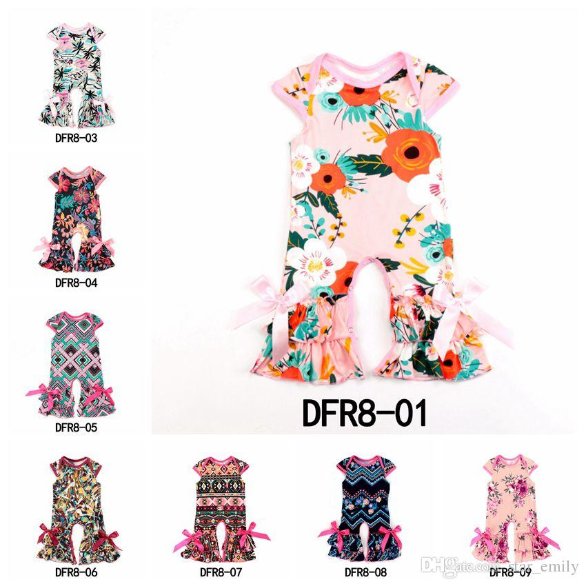 7dad8071b03a 2019 Summer Baby Rompers Short Sleeve Baby Girls Soft Floral ...