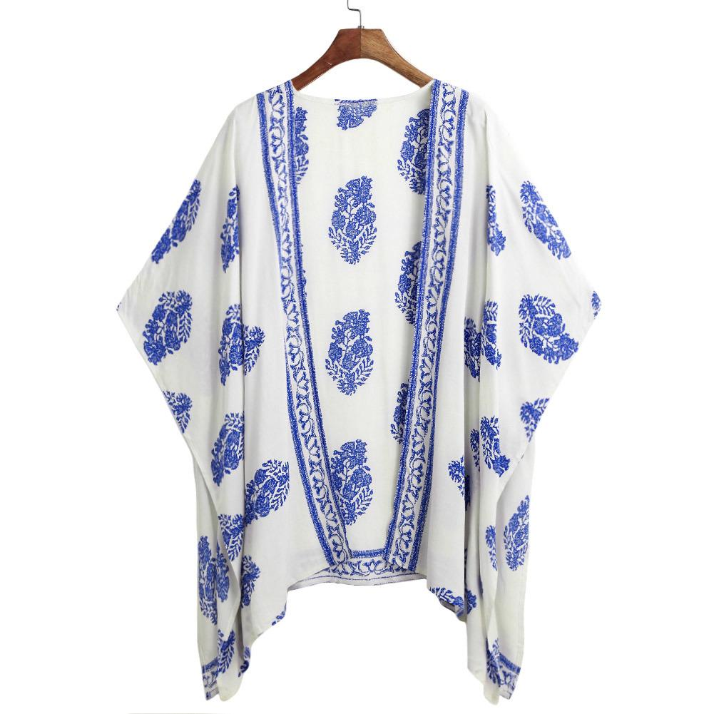bd10f60dab5e5 2019 5XL Plus Size Pareo Women Summer Kimono Cardigan Bikini Cover Up  Floral Beach Robe De Plage Boho Blouse Top Summer Beachwear From  Liasheng07