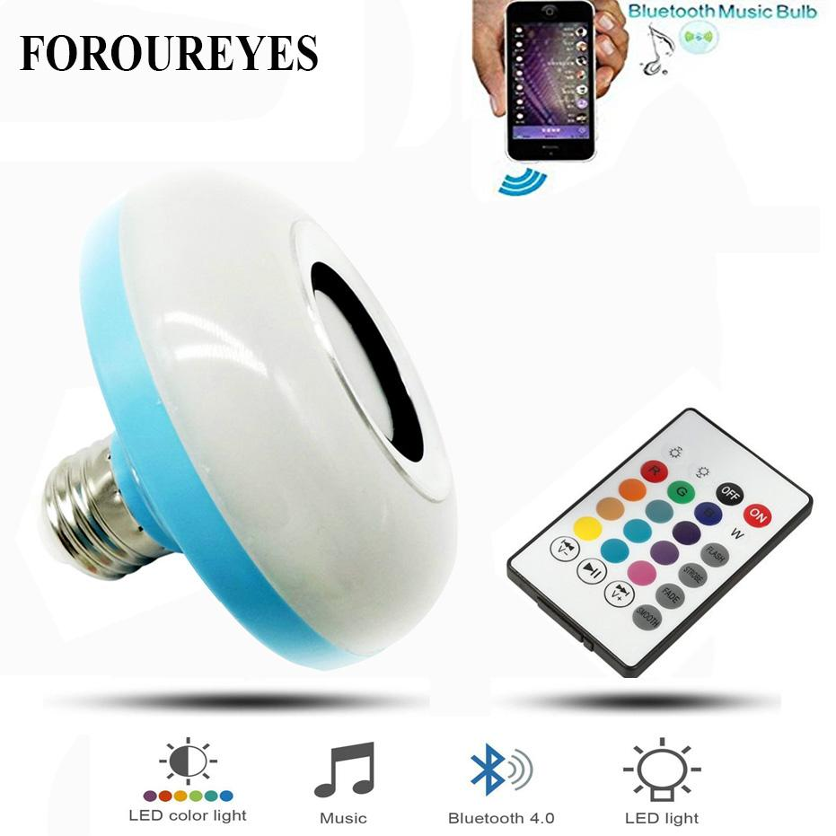 E27 Smart Rgb Rgbw Wireless Bluetooth Speaker Bulb Music Playing Non Dimmable Led Lighting Controller Light Lamp With 24 Keys Remote Control E17 Fog Bulbs