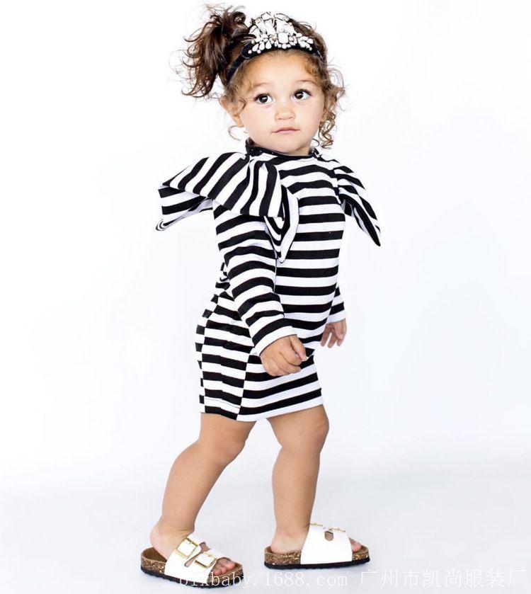 5d6aafc5a 2019 Hot Sale 1 6 Years Children Girls Long Sleeve Black Striped ...
