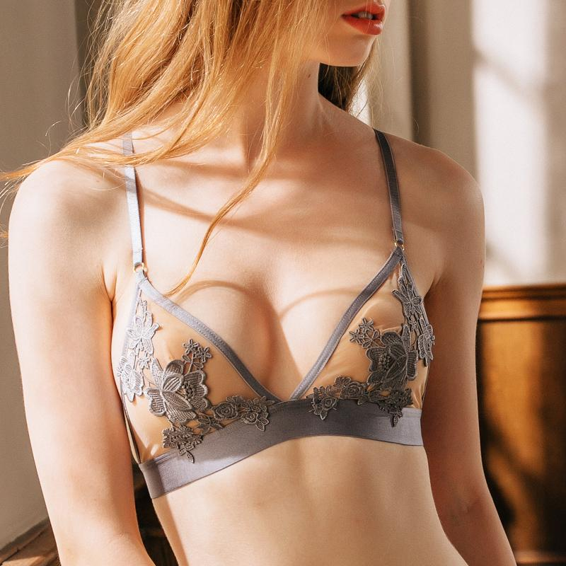 2019 Wholesale Sexy Lace Bralette Triangle Cup Bra Sets Underwear For Women  Wire Free Thin Lingerie Set Breathable Comfortable Intimates From ...