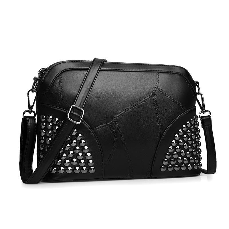 0dcf864f1c9 adies handbags Aliwood New Shell Women Bag Genuine Leather Shoulder Bag  Ladies' Handbag Female Messenger Bags Simple Rivet Crossbody Bags...