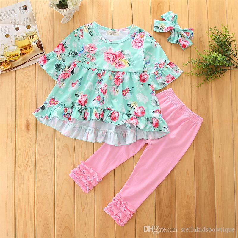 Europe and American Style Baby Girls Floral Print T-shirt and Pant and Headband Suit Factory Direct Sales