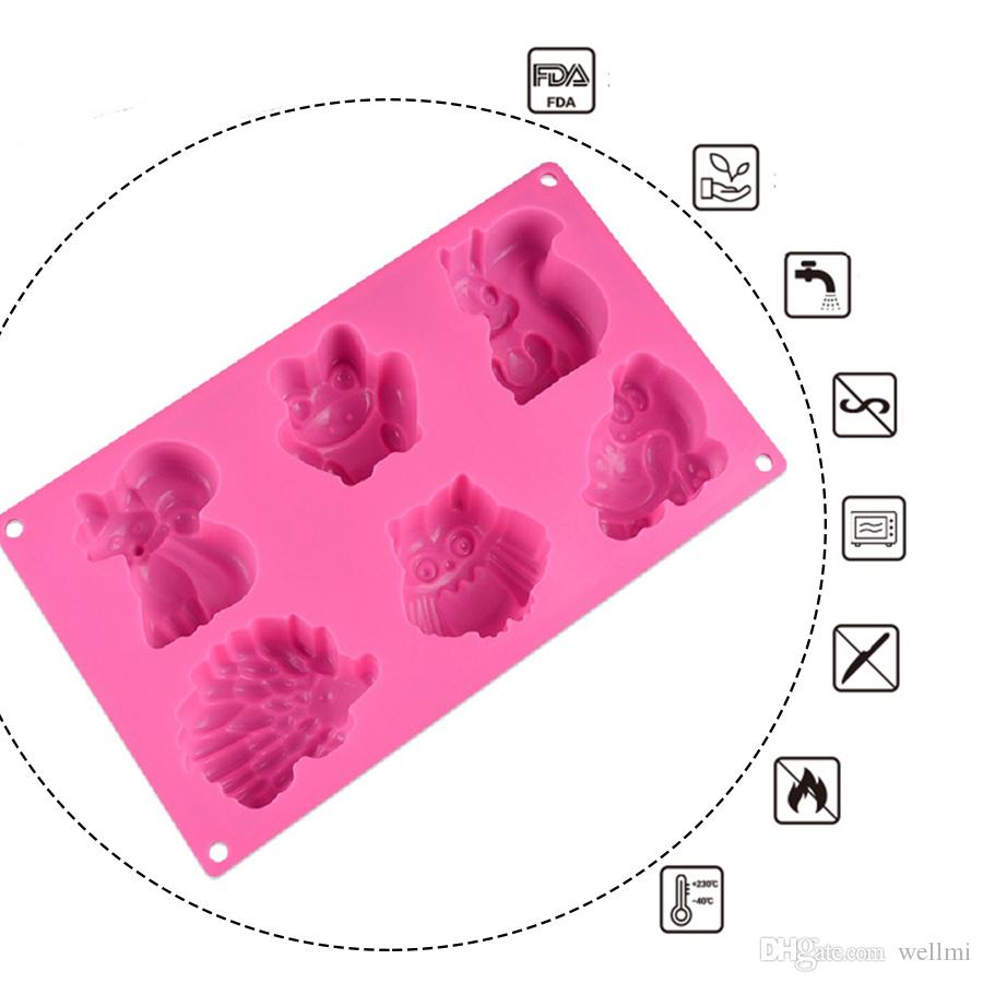 3D Chocolate Silicone Mold DIY Cake Decoration Baking Tools Small Animals Fox Owl Frog Candy Pastry Mould Ice Cube Soap Molds Random Color