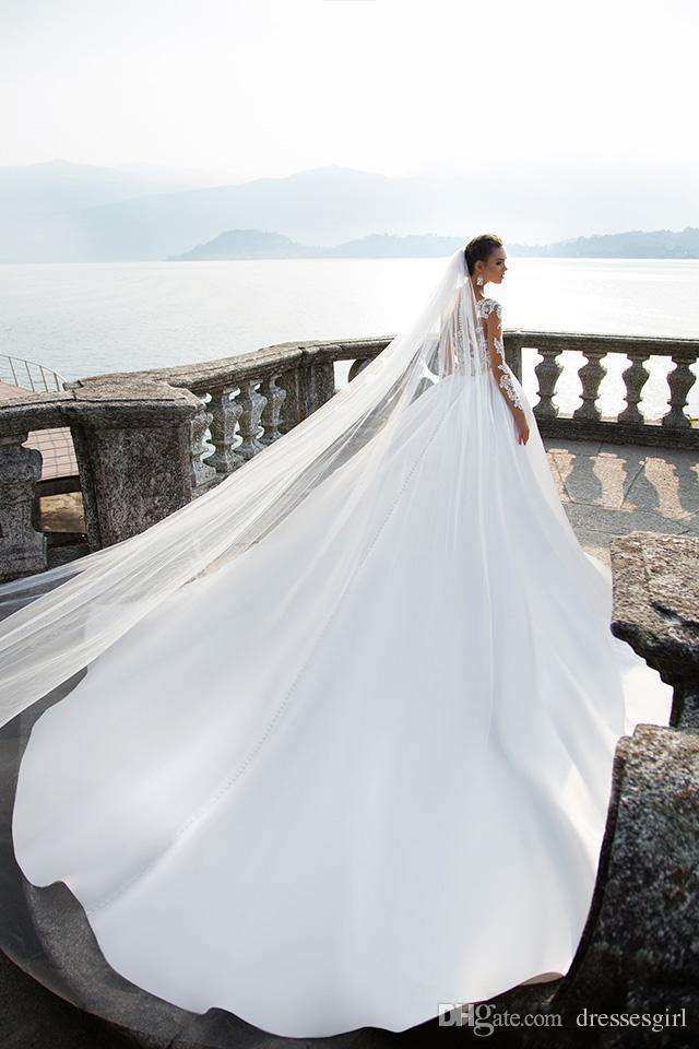 المبيعات الساخنة ميلا نوفا الأبيض ألف خط فساتين الزفاف شير طويلة الأكمام زر العودة الحرير أثواب الزفاف مخصص