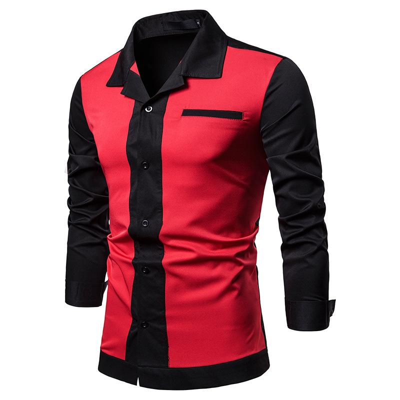 70dfe14abb 2019 Men Shirt 2018 Autumn Long Sleeves Cotton Shirt Men Hawaiian Stitching  Color Slim Fit Tops Hip Hop Plus Size White Black From Ladylbdcloth, ...