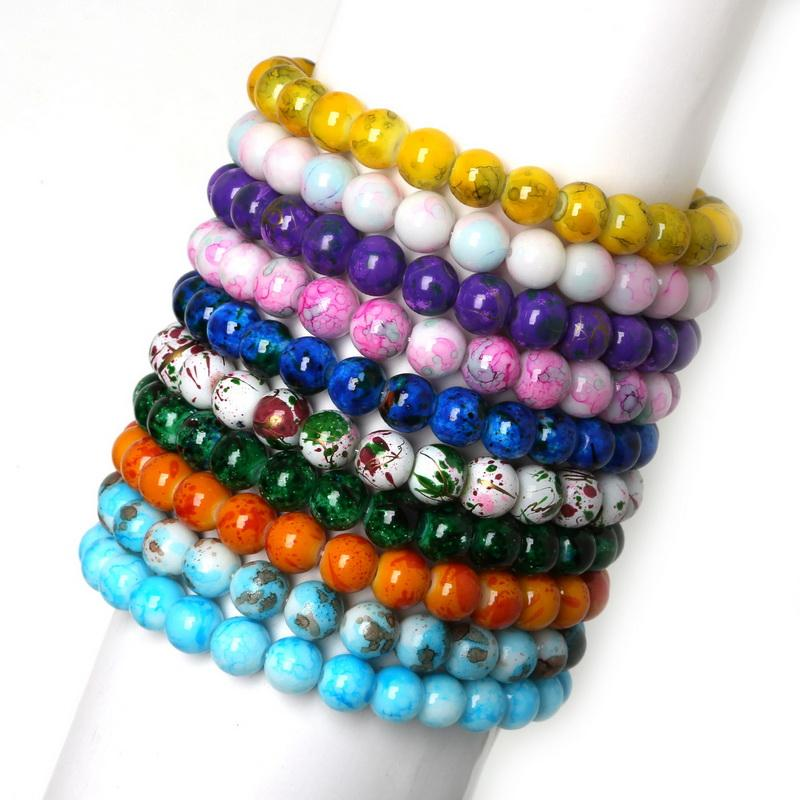 Fashion Handmade Gorgeous Mixed Colorful Elastic Stretch Glass Spacer Beads Charms Bracelets For Women/Men Jewelry Bangles Gifts