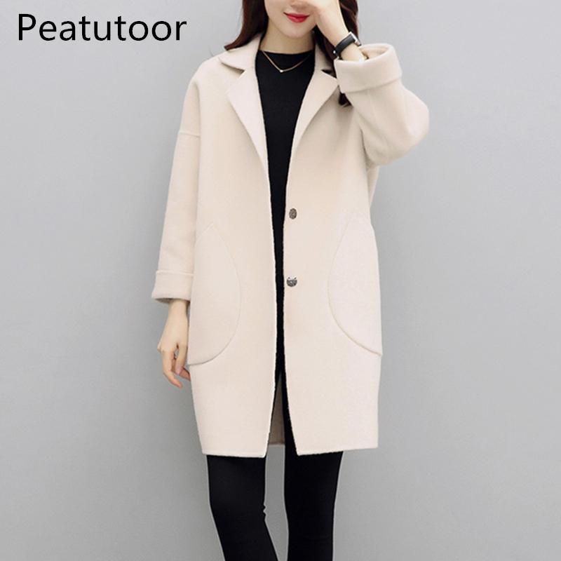 2018 vente chaude femme manteau de laine haute qualité veste d hiver femmes lâche laine long manteaux de cachemire cardigan vestes élégant mélange