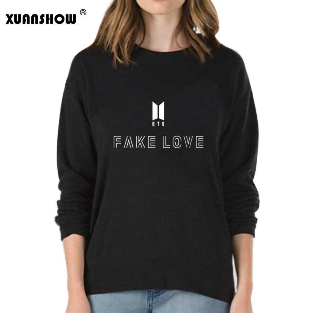 703f6c35f863 2019 XUANSHOW Fake Love Women Sweatshirt Hoodies BTS Love Yourself Tear Hot  Sale Print Girls Cool Sweatshirt Fashion Plus Size S XXL From Xiaxuan