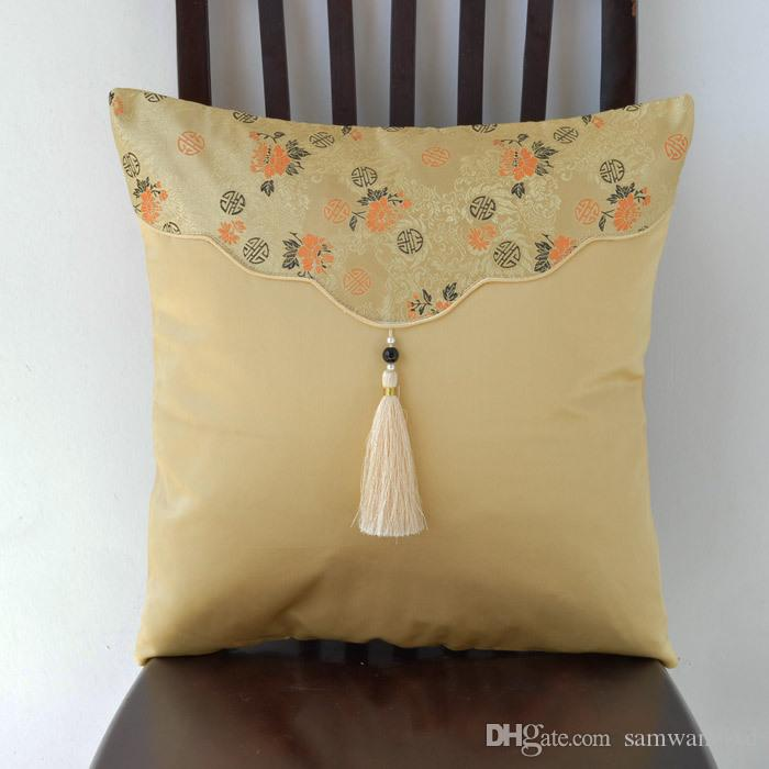 chinese embroidered satin cushion covers geometric throw pillow rh dhgate com