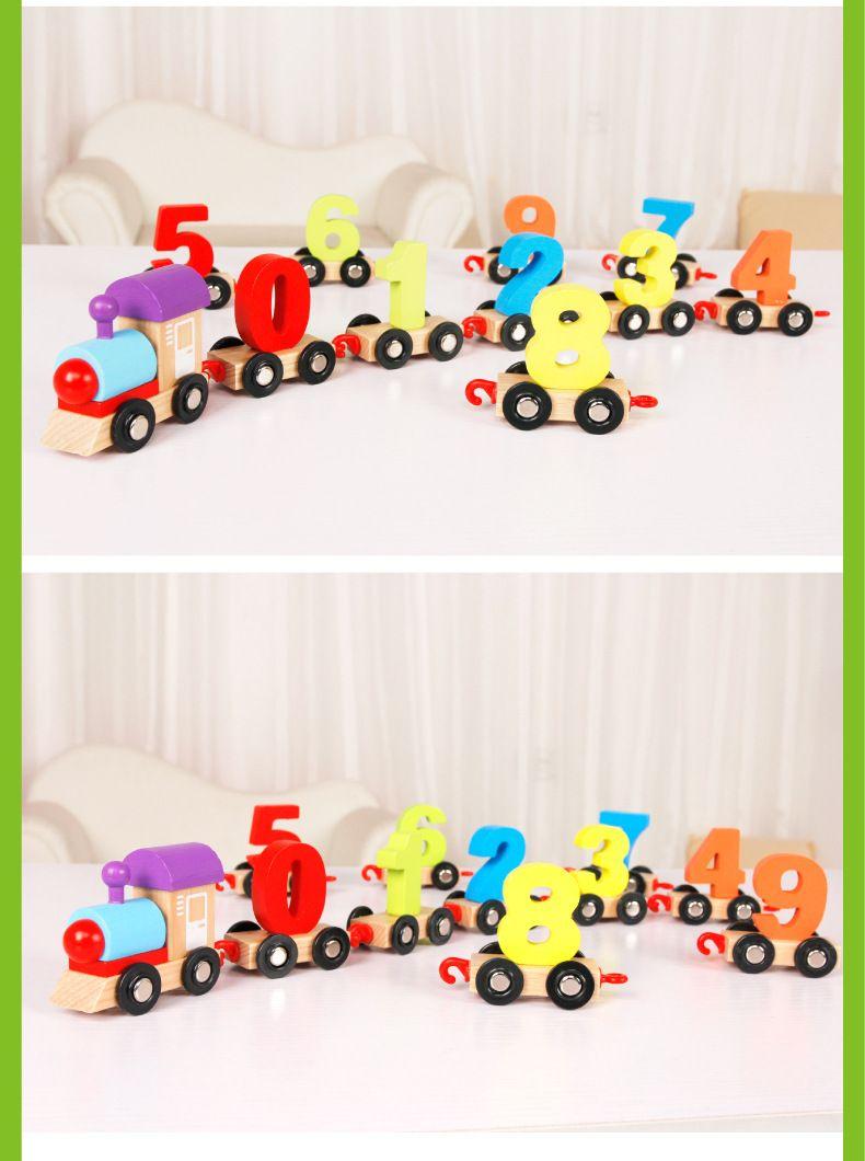 wholesale hot Children building blocks digital train puzzle assembled colorful wooden train educational toys
