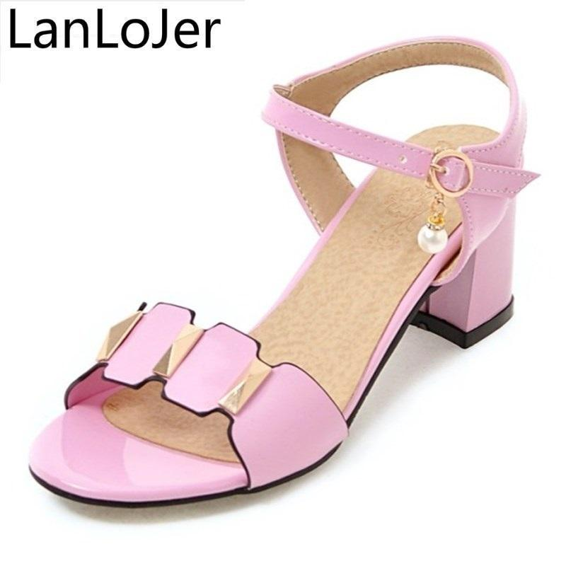 968a5172ff0c Ladies Sandals Sexy Thick Heels High Heels Shoes Bright Patent Leather Red  Black Sandals Women Rome Big Size 31 43 Skechers Sandals Sexy Shoes From ...