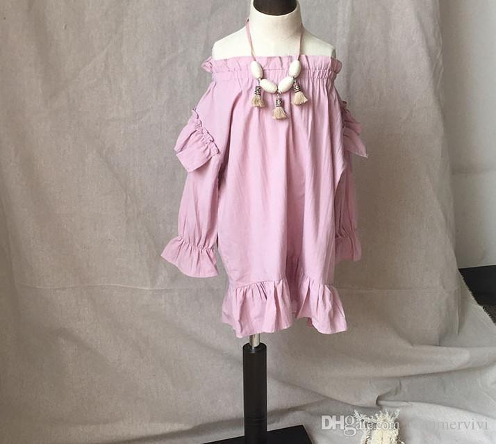 34d3a1588 Fashion Children Autumn Dress Girls Ruffle Elastic Dew Shoulder ...