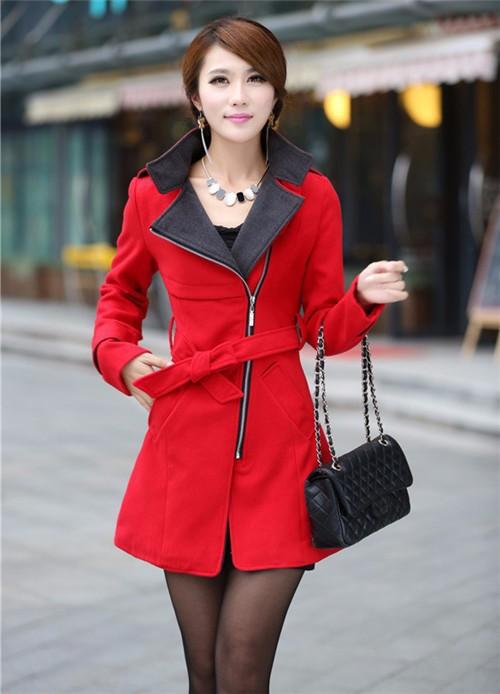 Women Trench Coat 2016 Winter Autumn Fashion Slim Fit Women Long Trench Wool Blend Coat Belted Overcoat Women Coat Outerwear