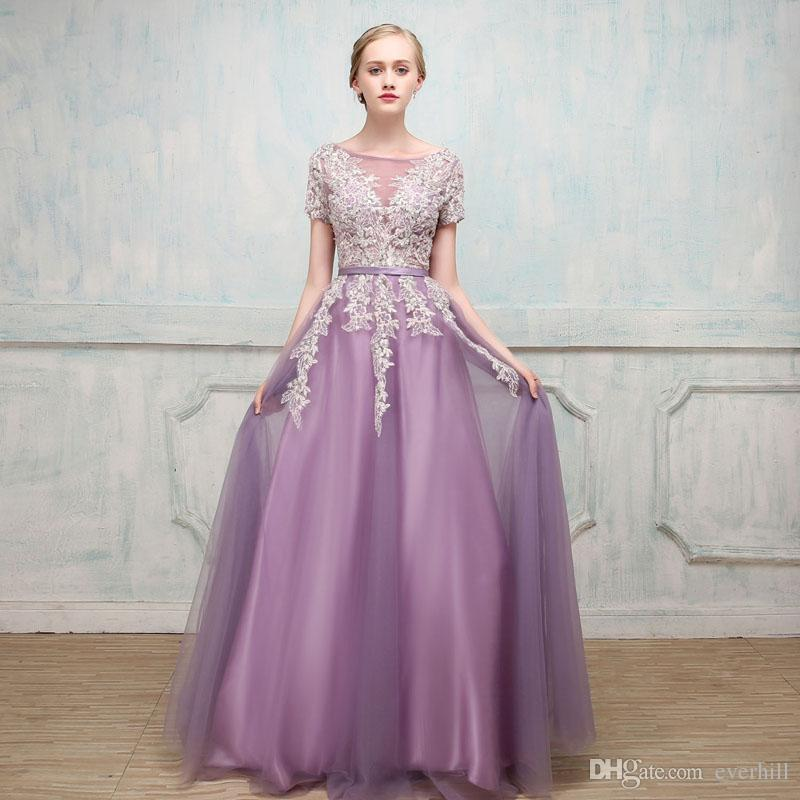 Sexy See Through Lace Long Prom Dresses 2018 Elegant Beaded Sequins Evening Party Gowns A-Line Tulle Girls Formal Special Occasion Dresses
