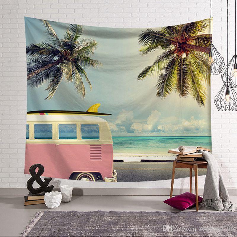 été tropical plage impression tapisserie palmier palmier Tenture murale tapis bus surf tente tenture murale vacances bureau décoration